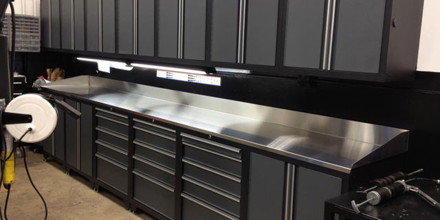 New Steel Cabinets with Stainless Bench Tops
